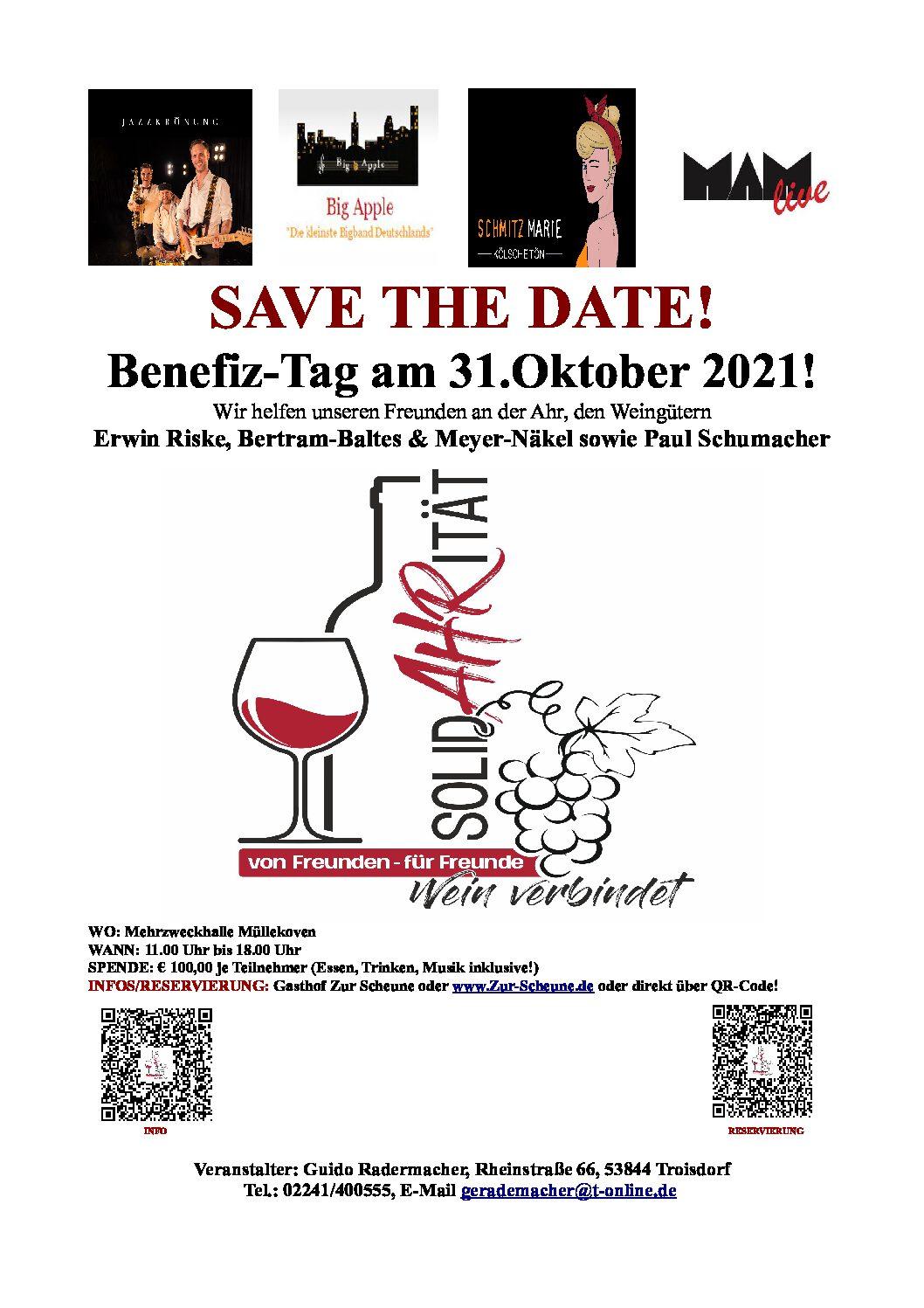 """31.10.2021 – Benefiztag: """"SolidAHRität"""" Wein verbindet – Von Freunden für Freunde"""